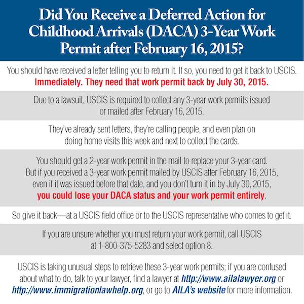 USCIS Recalling 3-Year DACA Work Permits